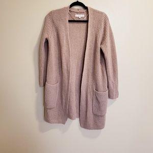 LOFT Long Sleeve nude tan open Front knit Cardigan